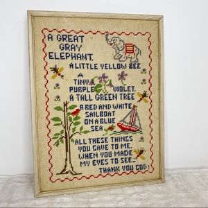 Vintage Wall Art - vintage framed cross-stitch wall art nursery decor